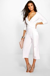 Boohoo Roll Sleeve Relaxed Culotte Jumpsuit Ivory