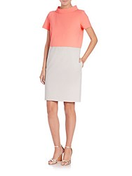 Piazza Sempione Mockneck Colorblock Dress Grey Coral