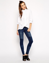 Just Female Low Waist Skinny Jeans With Patches Blue