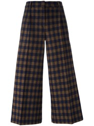 Odeeh Checked Cropped Trousers Brown