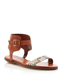 Cole Haan Barra Snake Embossed Ankle Strap Flat Sandals Camello