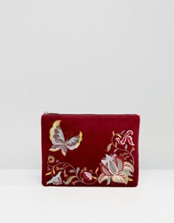 Glamorous Velvet Zip Top Clutch With Embroidery In Burgundy Red Multi