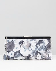 Lotus Floral Clutch Bag Black Floral Textile