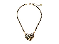 Guess Heart Neck On Twisted Cord Chain Necklace Gold Jet Necklace Black