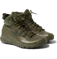 Nike Lupinek Leather Trimmed Flyknit High Top Sneakers Green