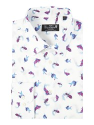 New And Lingwood Longleat Waterprint Shirt White