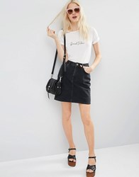 Asos Denim Original High Waisted Mini Skirt In Washed Black Washed Black