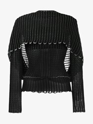 Roland Mouret Charp Alpaca Blend Knitted Overlay Top Black Ecru