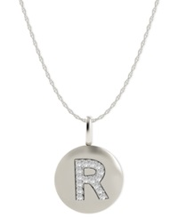 Macy's 14K White Gold Necklace Diamond Accent Letter R Disk Pendant