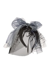 Maison Michel Headband With Mesh Veil Lace And Oversize Bow Multicolor