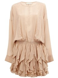 Faith Connexion Lace Detail Ruffled Dress Nude And Neutrals