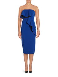 Jay Godfrey Greene Strapless Ruffled Sheath Dress Cobalt