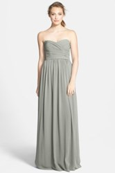 Monique Lhuillier Strapless Ruched Chiffon Sweetheart Gown Gray