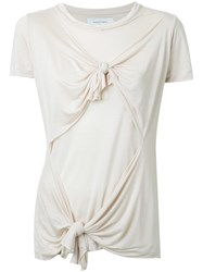 Marques Almeida Knot Detail T Shirt Nude And Neutrals