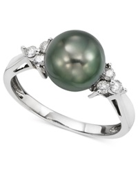 Macy's 14K White Gold Cultured Tahitian Pearl 9Mm And Diamond 1 5 Ct. T.W. Ring Gray