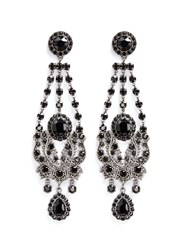 Givenchy 'Victorian Chandelier' Crystal Bronze Clip Earrings Black Metallic