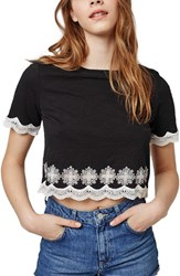 Women's Topshop 'Daisy' Embroidered Crop Tee Black Multi