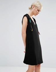 See U Soon Shift Dress With Feather And Beaded Detail Black