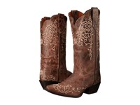 Laredo Jasmine Taupe Bone Flower Embossed Cowboy Boots Brown
