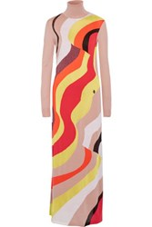 Emilio Pucci Wool Blend Maxi Dress Orange