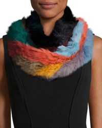 Jocelyn Rabbit Fur Infinity Scarf Multicolor Multi Colors