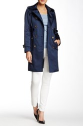 London Fog Water Repellent Double Breasted Trench Coat Petite Blue