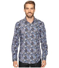 Bugatchi Drago Long Sleeve Woven Shirt Night Blue Men's Long Sleeve Button Up Navy