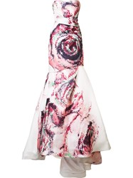 Monique Lhuillier Rose Print Gown Pink Purple