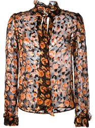 Lanvin Floral Print Sheer Shirt Black