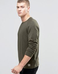 Jack And Jones Vintage Raw Edge Crew Neck Knitted Jumper Khaki Green