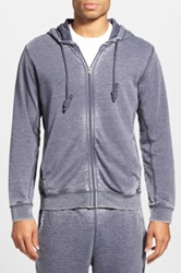 Daniel Buchler Washed Cotton Blend Zip Hoodie Blue