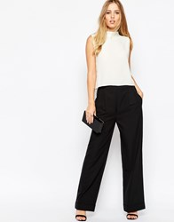 Asos Structured Wide Leg Trouser Black