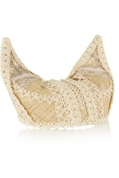 Anna Sui Lace Trimmed Woven Straw Kitten Hat Nude