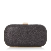 Untold Bespoken Glitter Box Clutch Bag Black Glitter