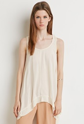 Forever 21 Ribbed Hem Trapeze Tank Cream