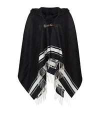 Max Mara Maxmara Weekend Zulia Contrast Stripe Poncho Cape Female Black
