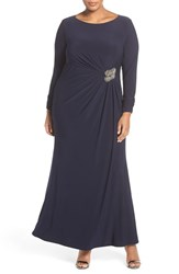 Vince Camuto Plus Size Women's Embellished Side Gather Long Sleeve Jersey Gown