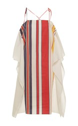 Alexis Mabille Bayadere Striped Scarf Dress White Red Blue