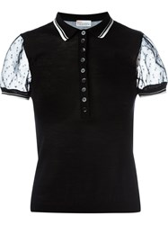 Red Valentino Sheer Sleeve Polo Shirt Black