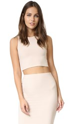 Alice Olivia Air Leilani Cutout Back Crop Top Pale Nude