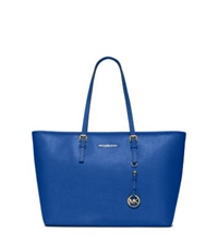 Michael Kors Jet Set Travel Medium Saffiano Leather Tote Electric Blue