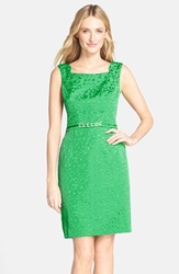 Jacquard Sheath Dress Kelly Green