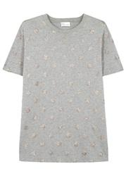Red Valentino Glittered Polka Dot Cotton T Shirt Grey And Other