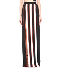 Thierry Mugler Striped Stretch Crepe Maxi Skirt Black Off White
