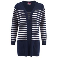 Cocoa Cashmere Women's Striped Cardigan Navy White