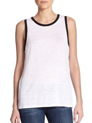 Red Haute Linen V Back Tank White