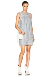 Sea Floral Eyelet Dress In Gray