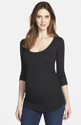 Women's Ingrid And Isabel Ruched Maternity Top Jet Black