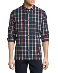 Vince Plaid Flannel Military Shirt Blue Red Blue Red