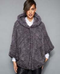 The Fur Vault Hooded Knitted Mink Fur Poncho Blue Iris